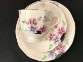 Tuscan china Art deco tea trio- hand painted